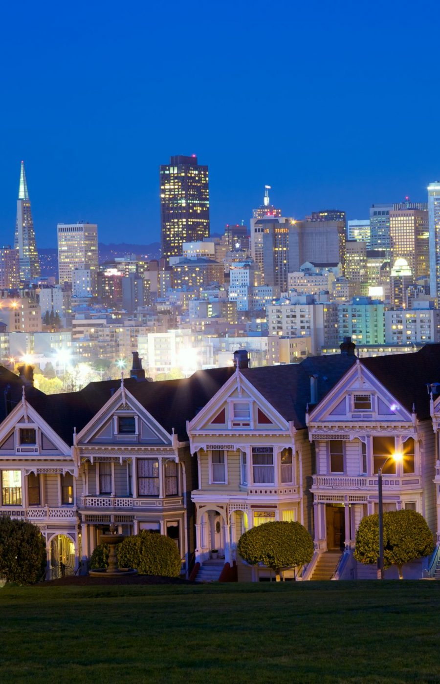 Alamo square and San Francisco skyline at dusk, California, USA